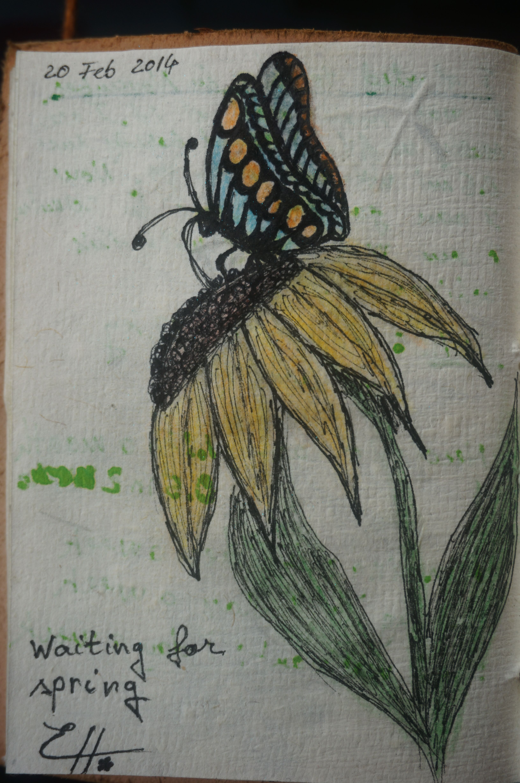 #art #journal #flower #butterfly #drawing #spring
