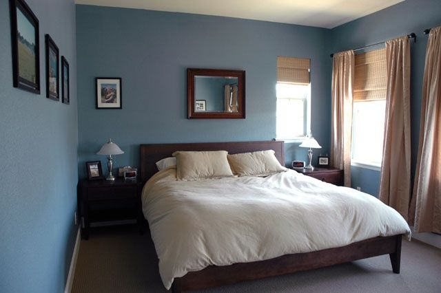 Blue gray bedroom on pinterest traditional bedroom Dark paint colors for bedrooms