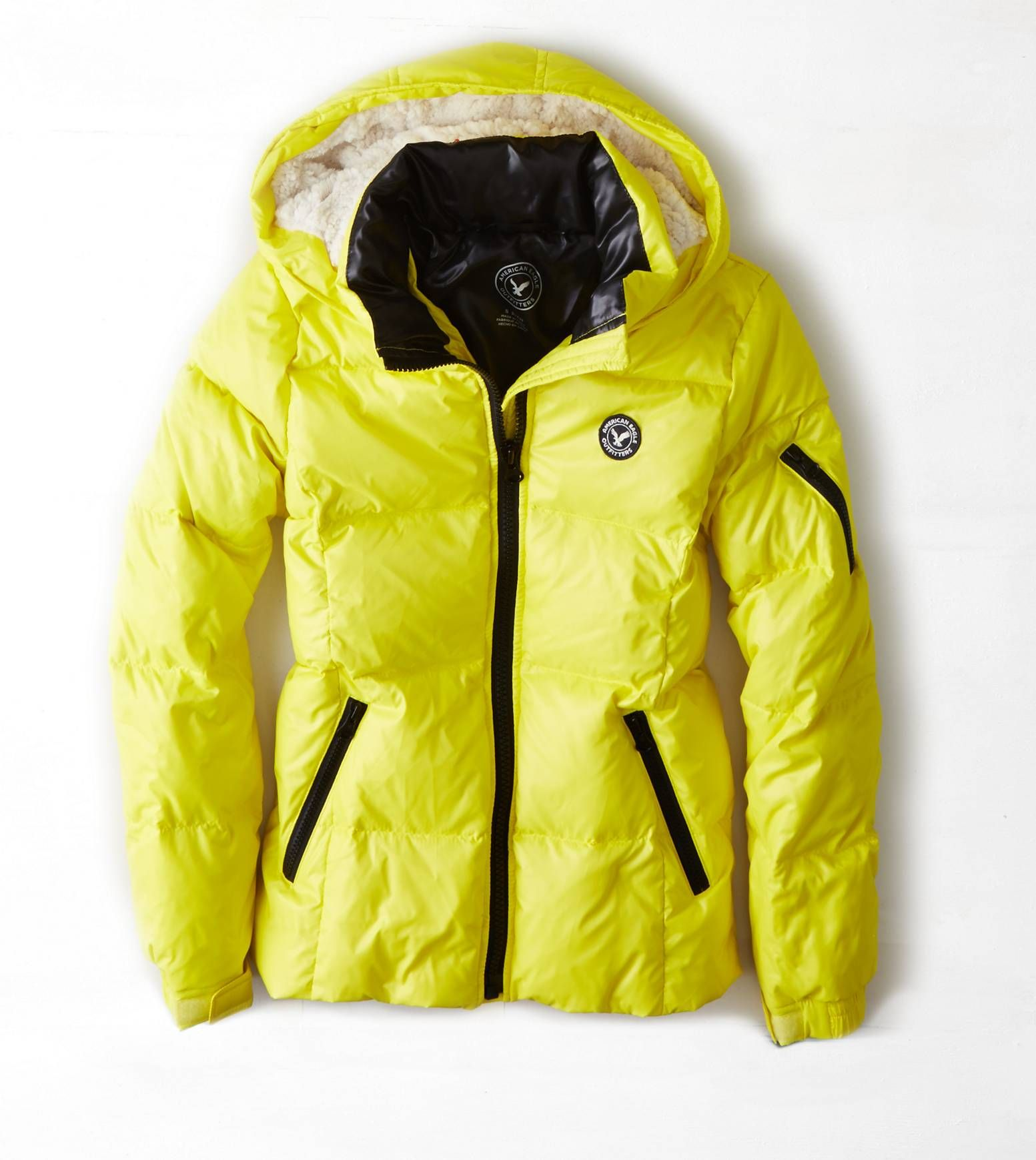 Neon Lemon Aeo Get Down Hooded Puffer Jacket American Eagle Outfitters Mens Outfitters Puffer Coat [ 1739 x 1553 Pixel ]