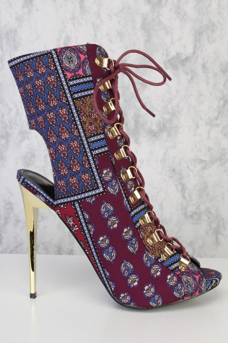 Blue Floral Lace Up Peep Toe Single Sole Heel Booties Fabric