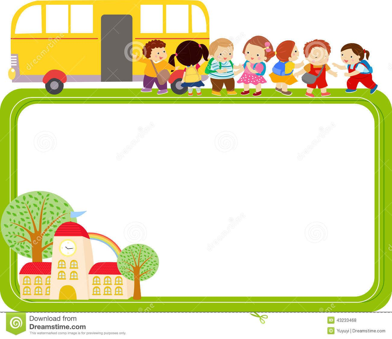 Cute Cartoon Kids And School Bus Frame Stock Vector