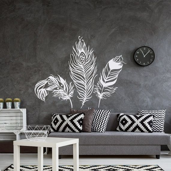 Feather wall decal feather wall decor feathers vinyl by homyvinyl