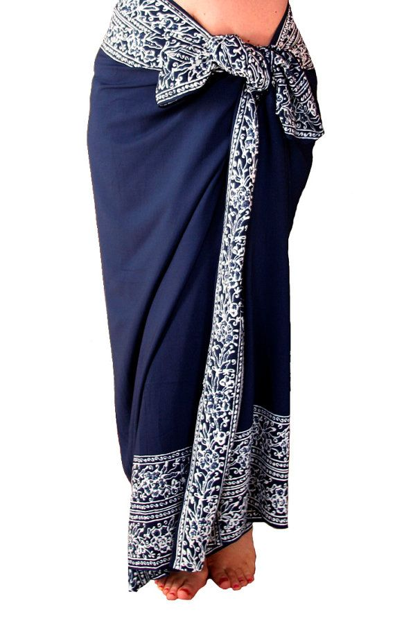 f8ee6b204e Beach Sarong Batik Sarong - Navy Blue and White Sarong Pareo Wrap - Womens  Clothing Wrap Skirt or Dress - Blue & White Swimsuit Coverup