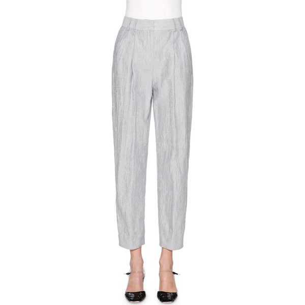 Giorgio Armani Fine-Stripe Cropped Pants (¥41,090) ❤ liked on Polyvore featuring pants, capris, navy crop pants, navy blue pants, cropped trousers, slim fit pants and navy blue crop pants