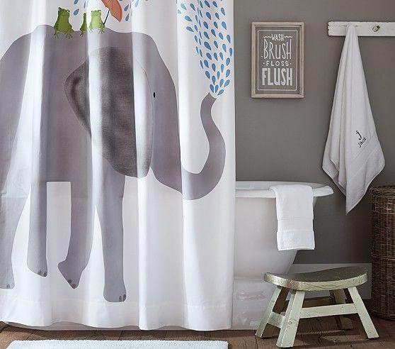 Elephant Shower Curtain Kids Shower Curtain Elephant Shower