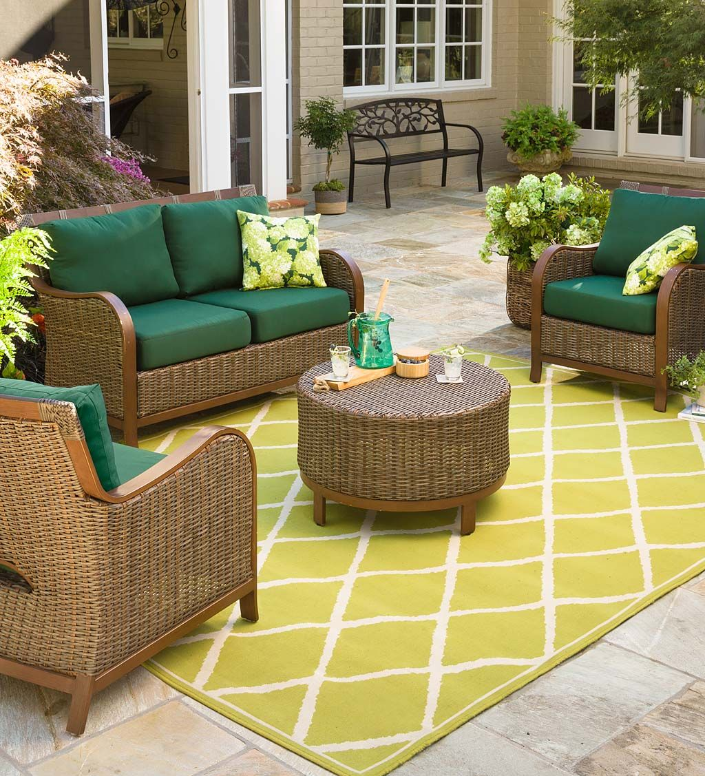 Forest Green Resin Wicker Patio Furniture Luxury Cushions Outdoor Seat Cushions