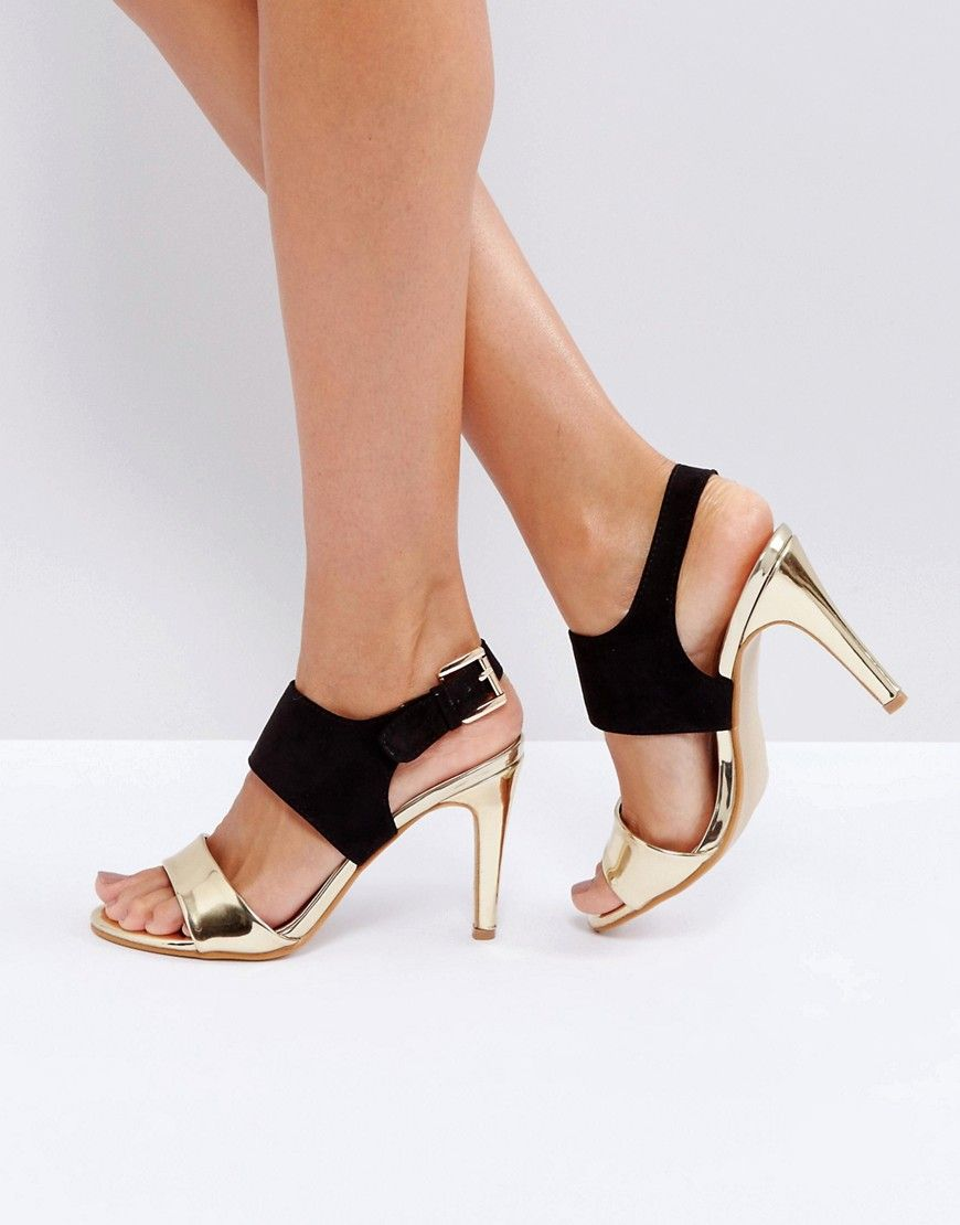 Barely There Metallic Heeled Sandal - Gold Little Mistress PASA6VN2RF