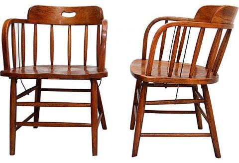 Set Of Oak Vintage Saloon Chairs 4