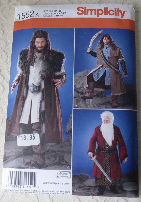 Simplicity Sewing Pattern 1552 Medieval Tunic Cloak & Accessories Elven Game of Thrones The Hobbit LOTR Costume Men's Size A XS - XL