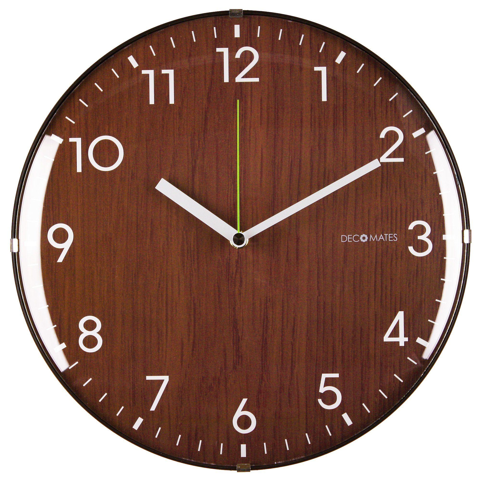 Amazon decomates non ticking silent wall clock dome wooden amazon decomates non ticking silent wall clock dome wooden brown amipublicfo Choice Image