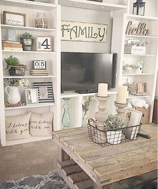 Modern farmhouse design ideas shelving decordecorating living room also best country images house decorations cottage home decor rh pinterest