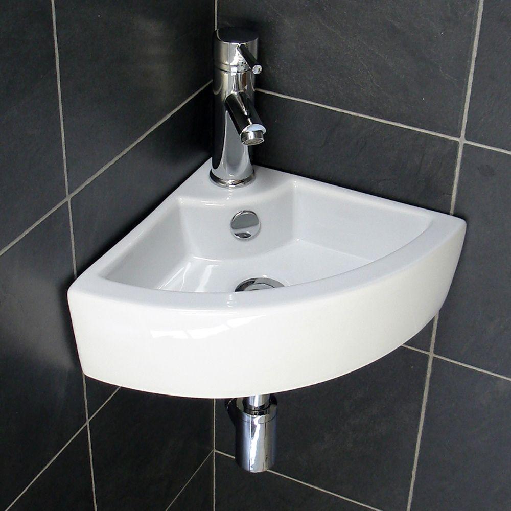 Beautiful Bathroom, Hung Corner Basin Sink: Perfect Corner Bathroom Sinks For Small  Bathroom