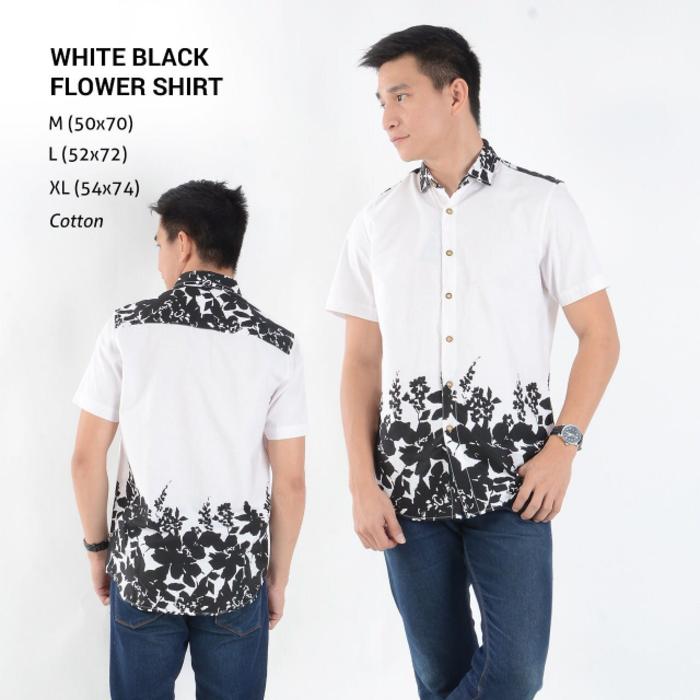 Model Kemeja Putih polos Lengan Pendek Untuk Pria Kombinasi Motif Bunga b637cc2764