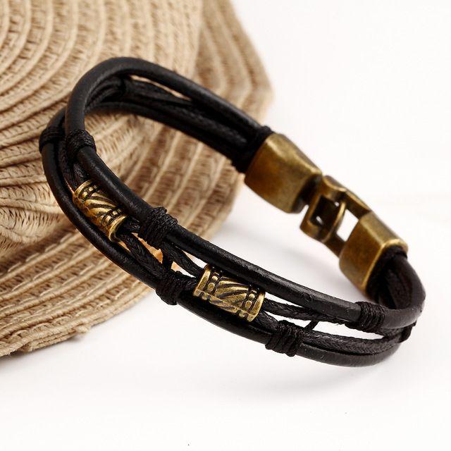 Negro Marrón de Oro Color de Moda Latina Cuerda Pulsera de Cadena de Cuero Y Piel Hebilla de Metal Decoración Retro Pulseras Para Hombre