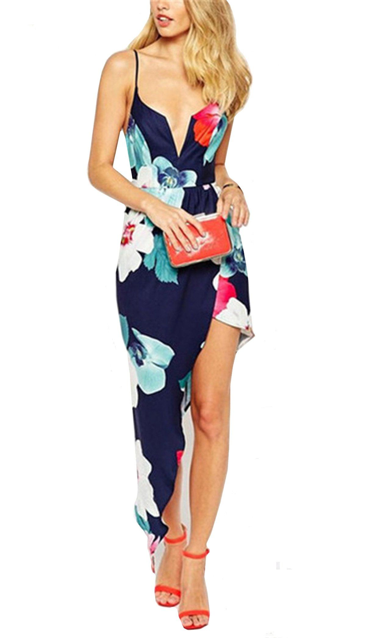 4a65419356 Shein Women's Navy V Neck Spaghetti Strap Florals Dress at Amazon Women's  Clothing store: