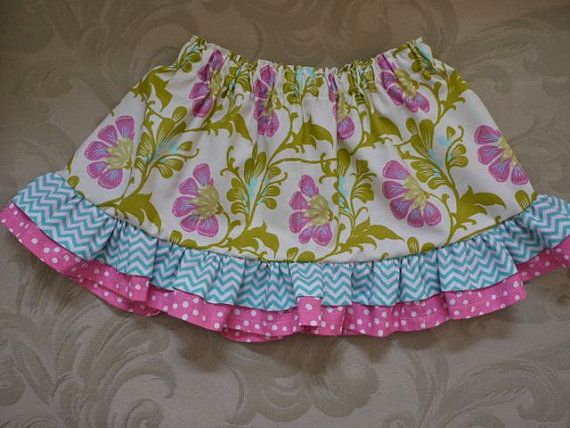 Daisy chain double ruffle skirt for baby by FrayBabyBibsandMore, $22.00