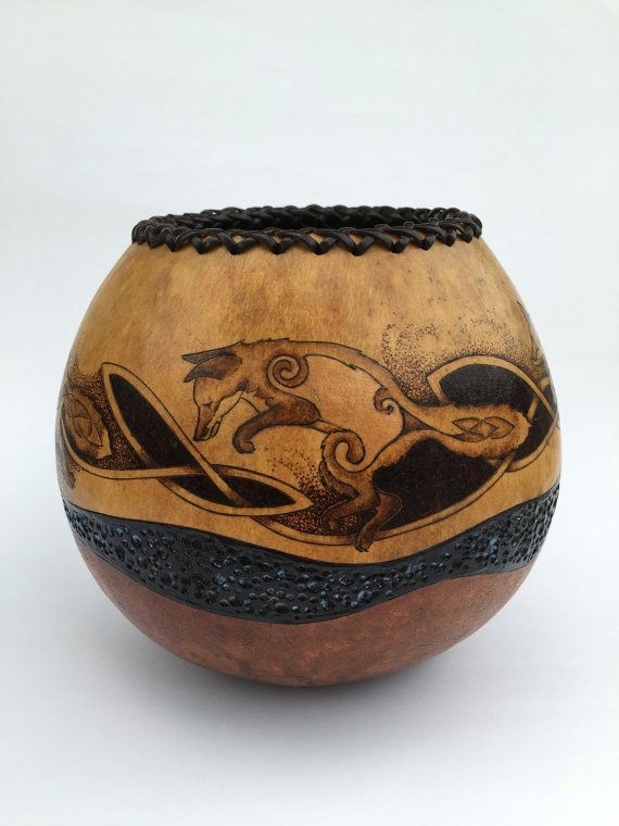 Fox pyrography wood burned carved Gourd Vase by JRAGourdArt