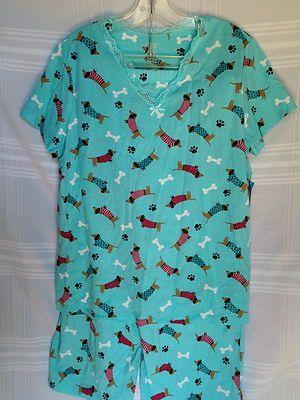 0fbaee31d Women's Dachshund w Sweaters Doxie Dog Print Pajamas Set Capris L XL   eBay