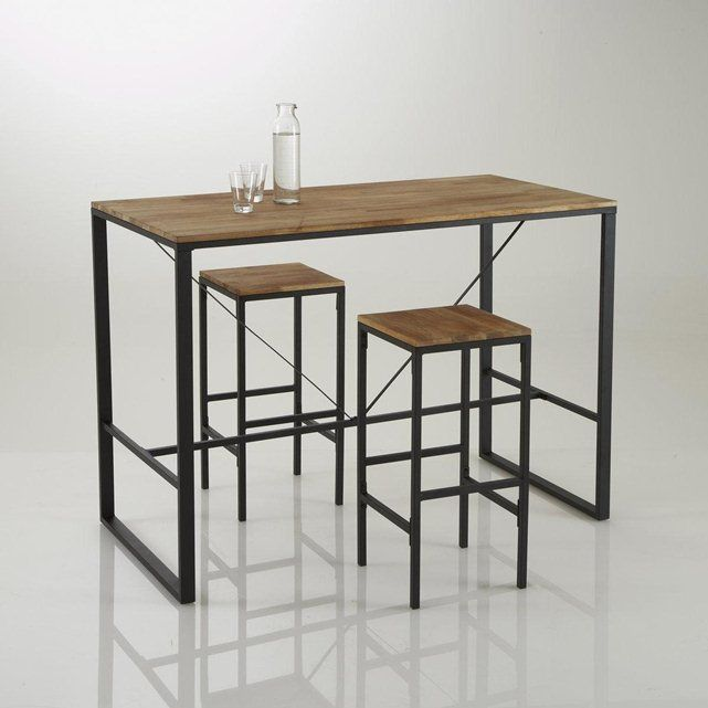 Tabouret de bar haut forme carr e hiba lot de 2 for Table de cuisine pour studio