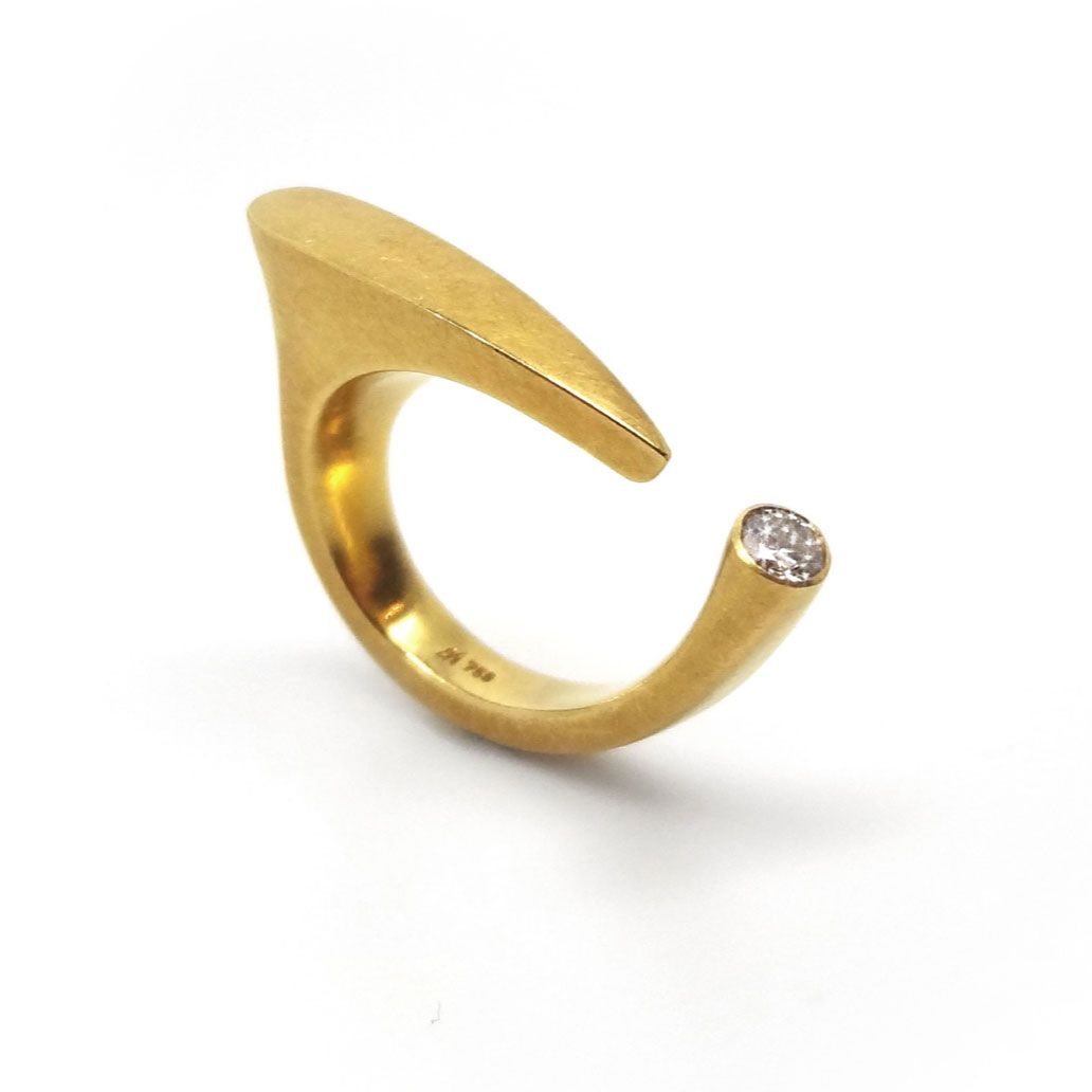 Angela Hubel Gold Diamond Exclamation Mark Ring ORRO