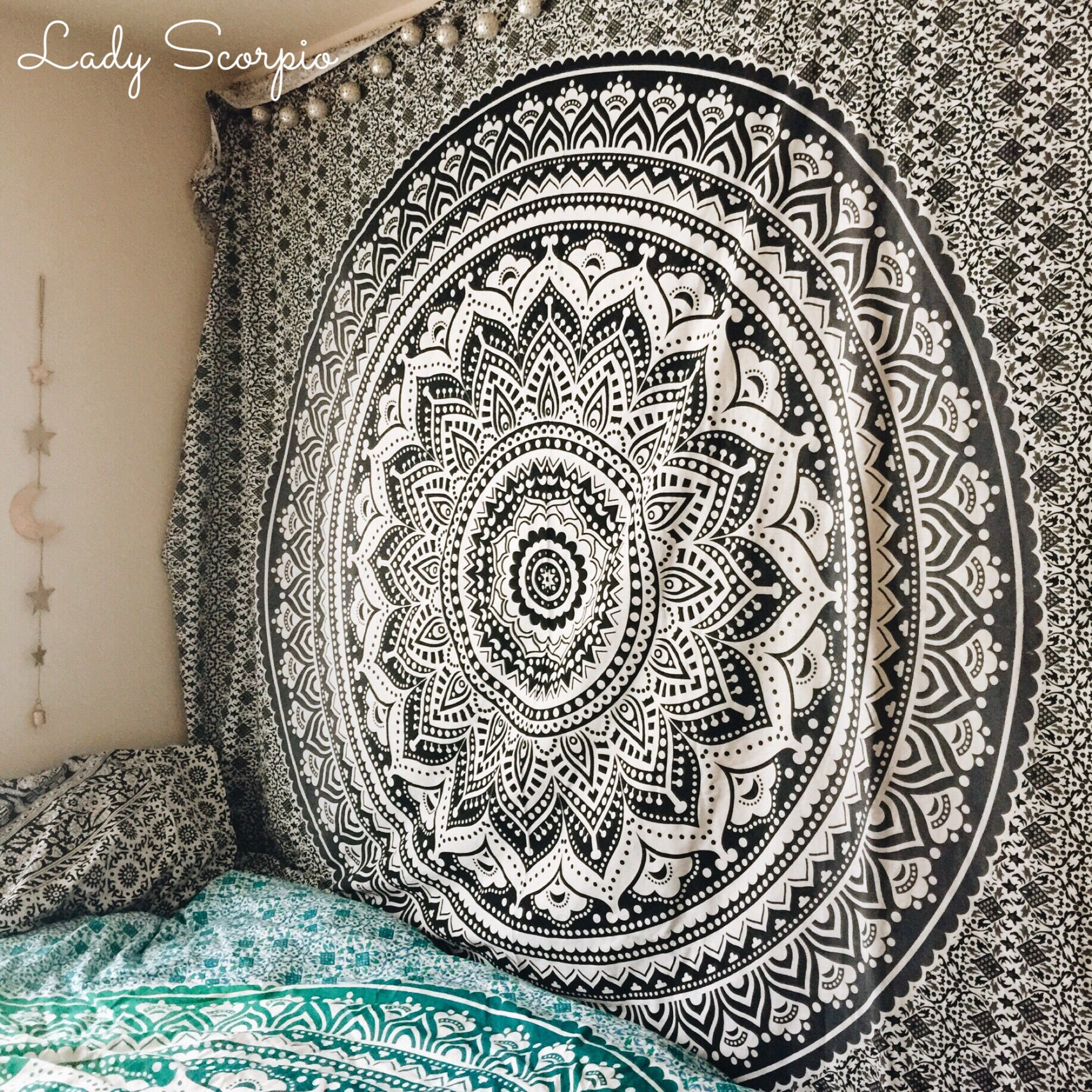 Beautiful black white mandala tapestry by lady scorpio for The tapestry