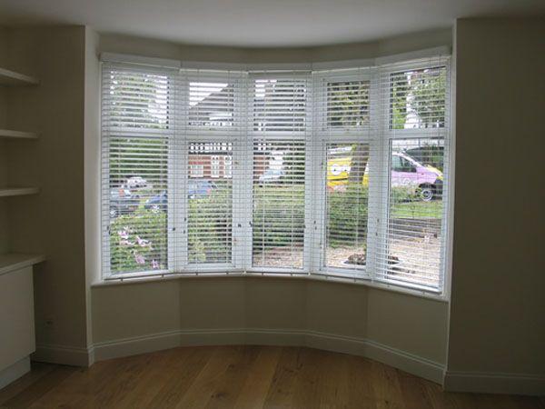 Window Blind casement window blinds : 50mm white woodslats in bay window | Decor Projects | Pinterest ...