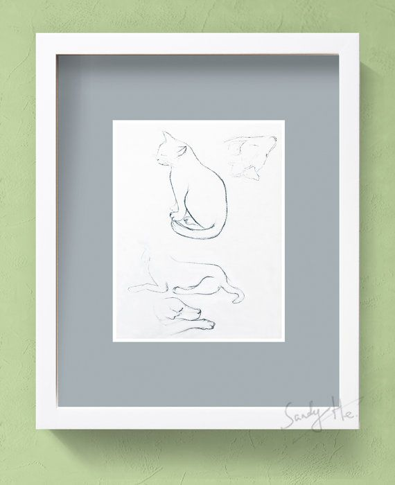 movement animal charcoal sketch drawing cat dog drawing print