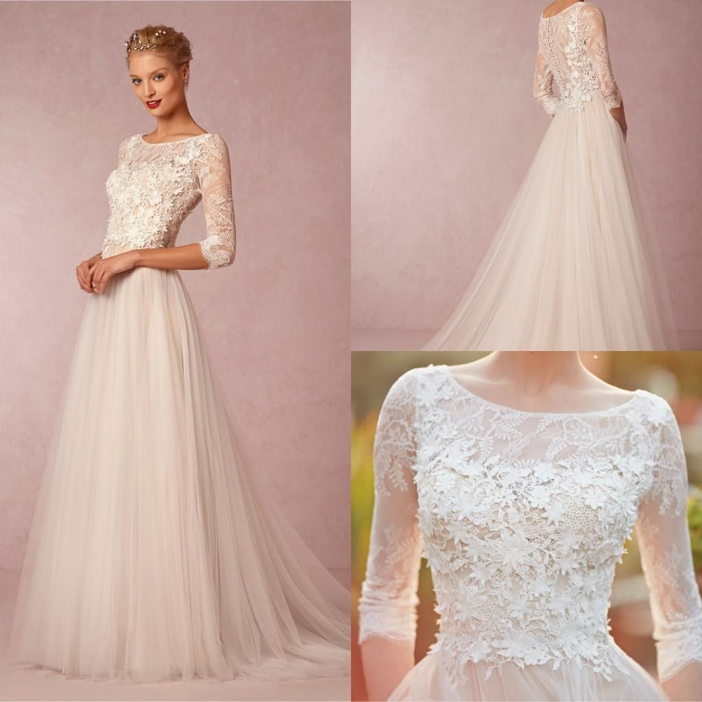 Spring simple wedding dresses a line cheap sleeve plus size