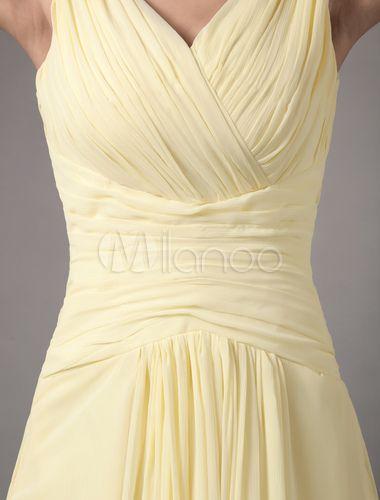 Etui-Brautjungfernkleid aus Chiffon in Narzissengelb