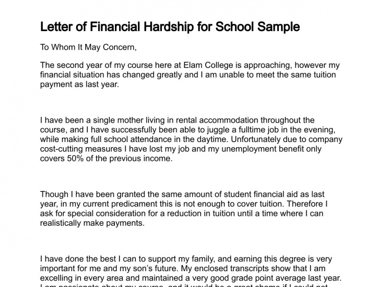 Example Of Financial Hardship Letter from i.pinimg.com
