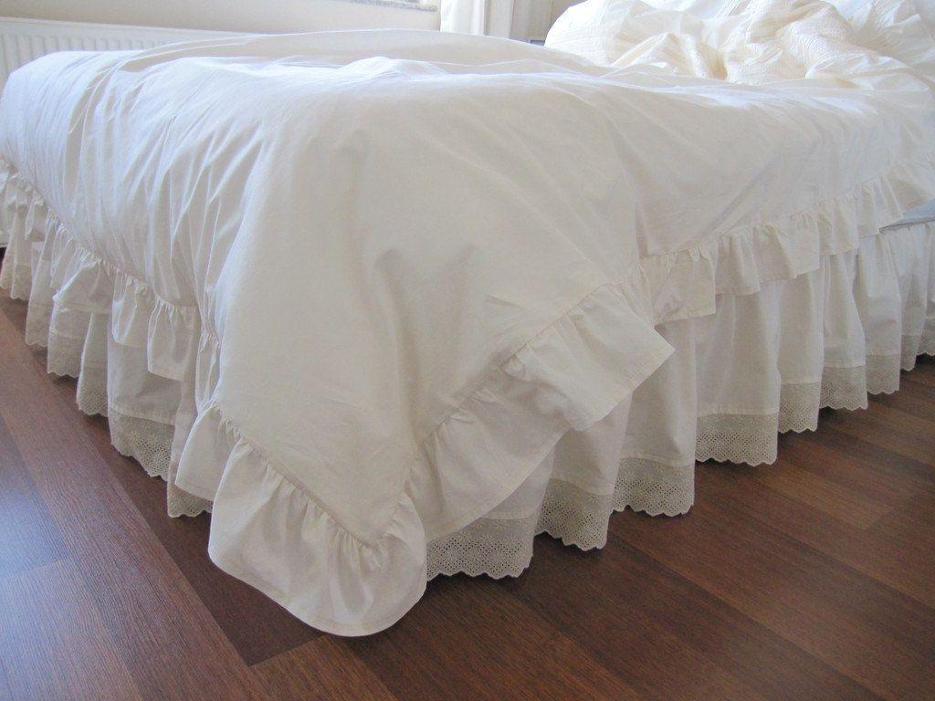 Dust Ruffle Ivory Ecru Eyelet Cotton Bedskirt Base Coverlet Box