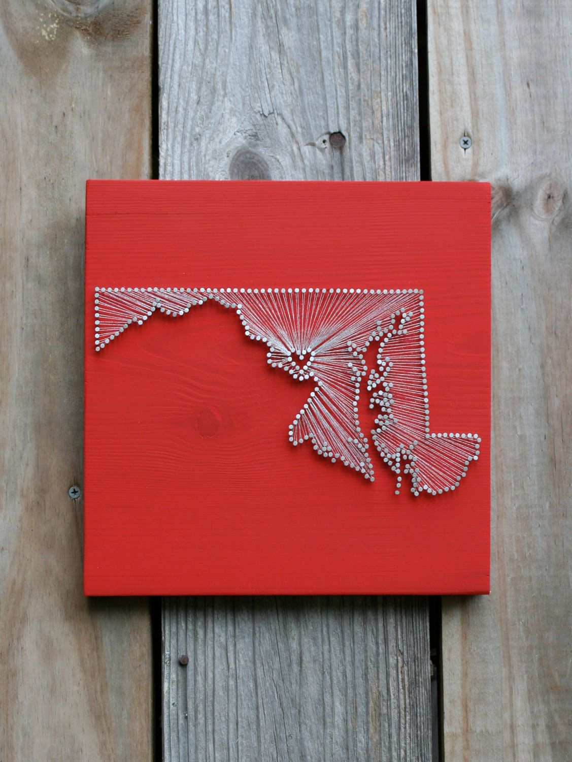 Maryland Love // Reclaimed Wood Nail and String Art Tribute to The Old Line  State - Maryland Love // Reclaimed Wood Nail And String Art Tribute To The