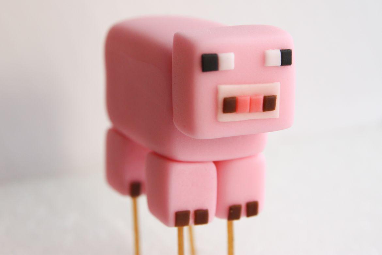 Minecraft Fondant Cupcake Toppers Minecraft Pig Cake