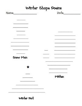 Great winter shape poem template freebie