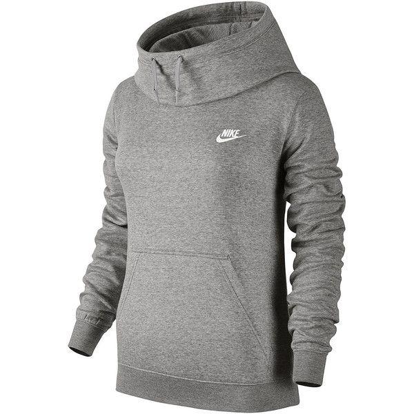 Nike Long Sleeve Cotton Hoodie 40 Liked On Polyvore Featuring Tops Hoodies Kangaroo Pocket H Womens Athletic Outfits Funnel Neck Hoodie Nike Long Sleeve