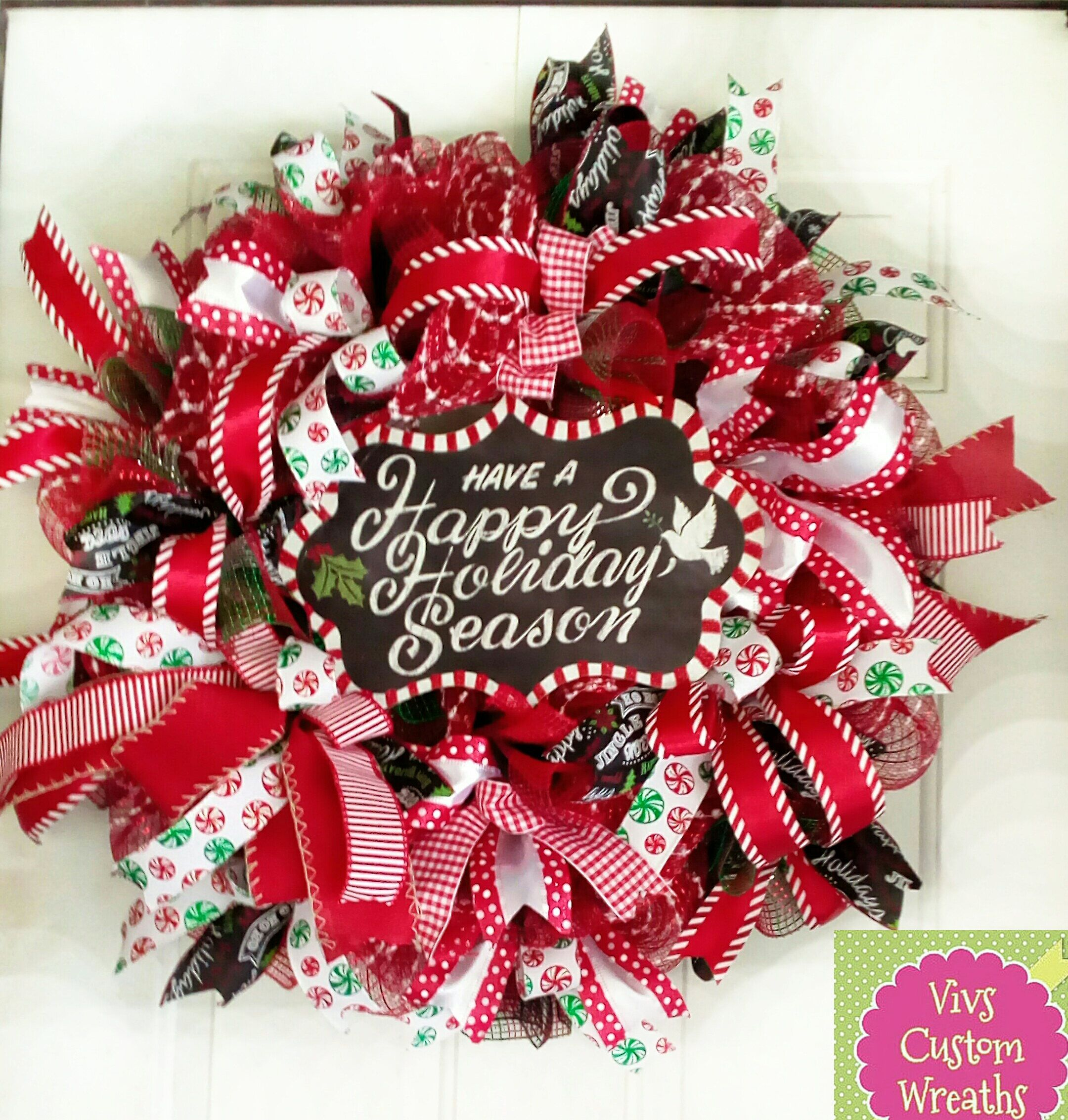 Have A Happy Holiday Season Wreath, Christmas Door Wreath, Deco