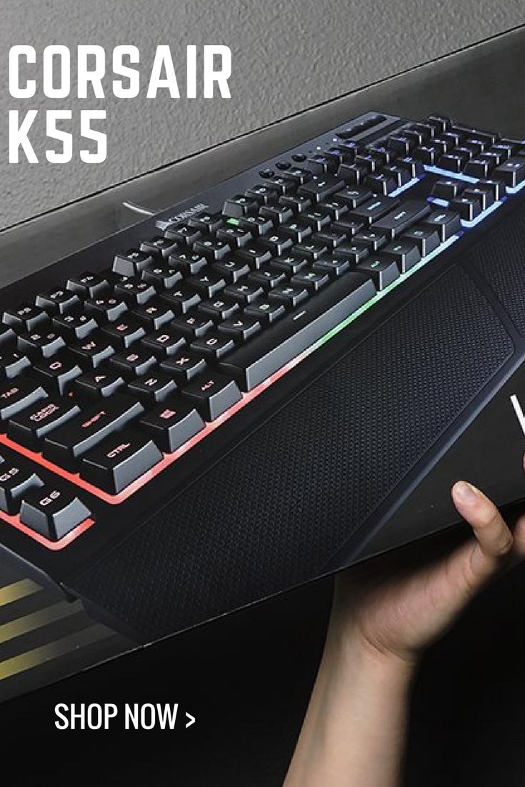 CORSAIR K55 RGB Gaming Keyboard - Quiet & Satisfying LED Backlit