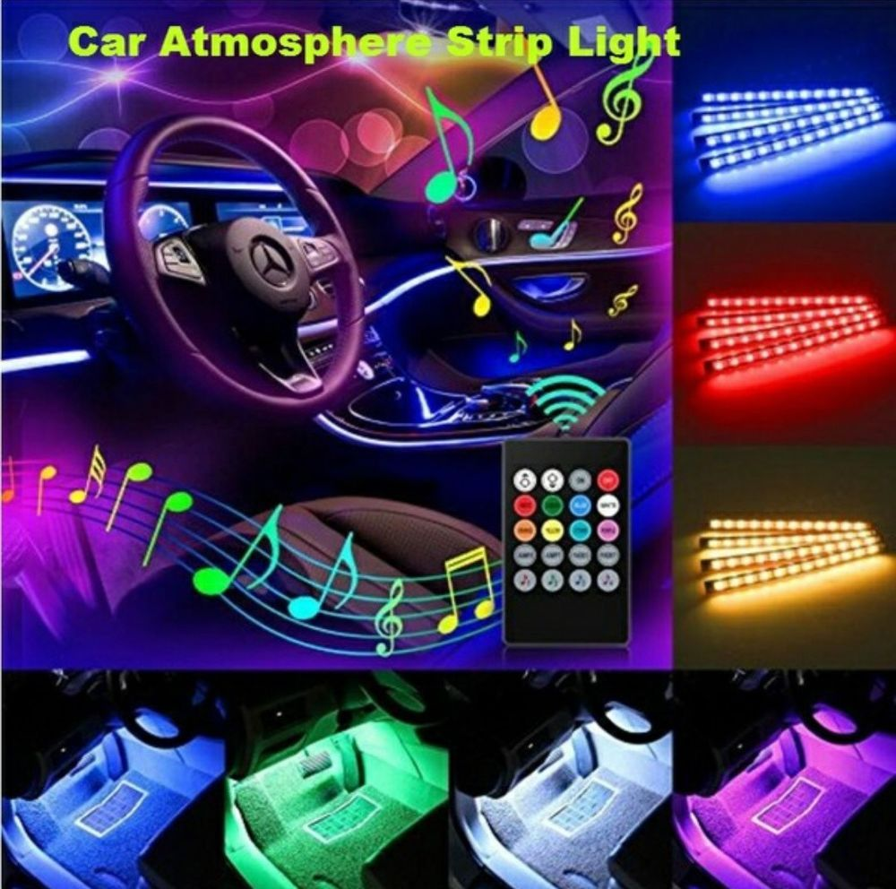 Eclairage Interieur Voiture Led Wireless Rgb 4x 12 Led Remote Music Voice Control Car Interior