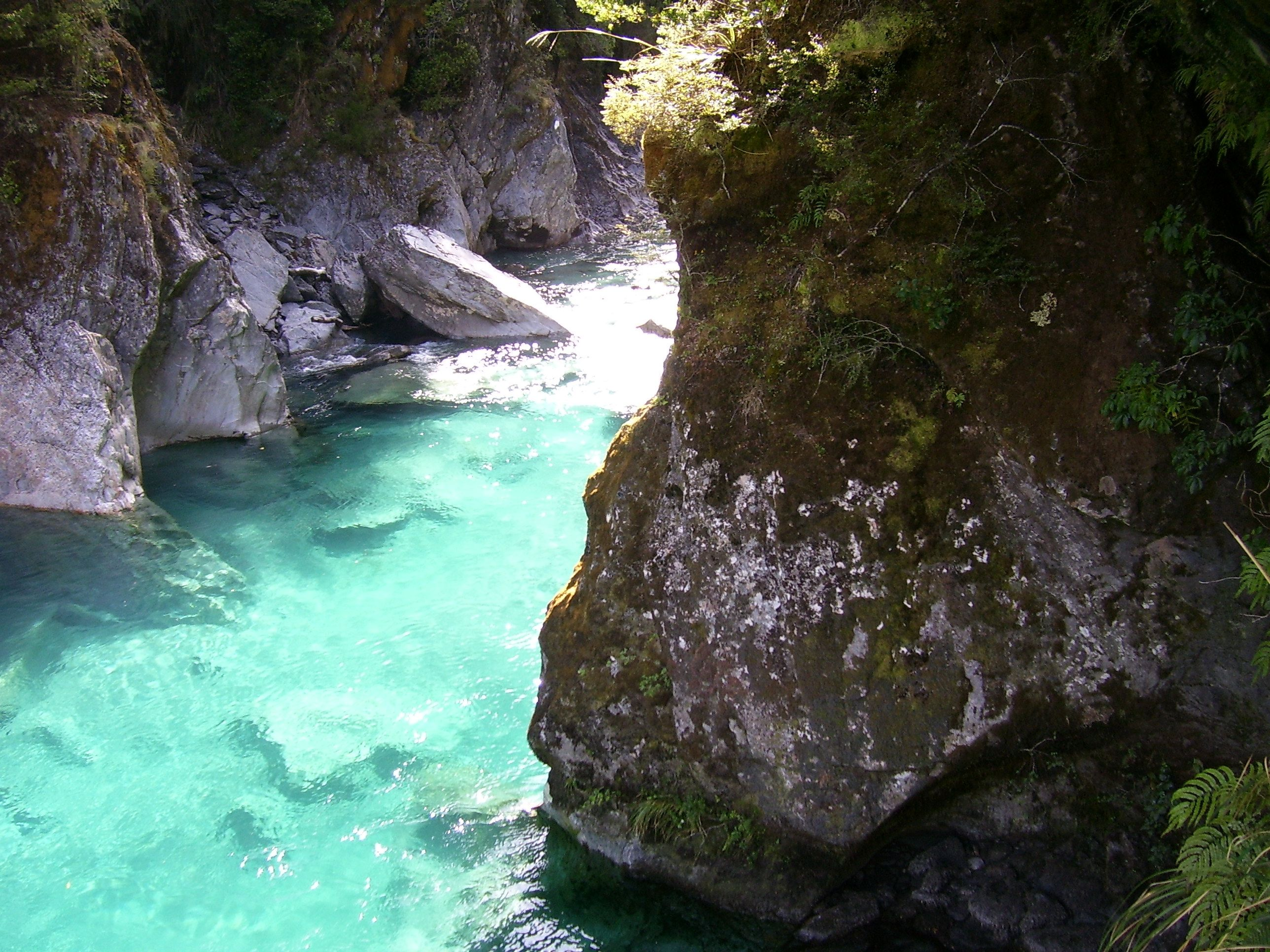 Spring fed rivers in New Zealand showing an ice blue color
