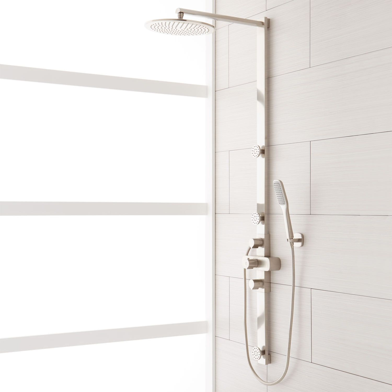 Correia Thermostatic Shower Panel With Rainfall Shower Head Hand