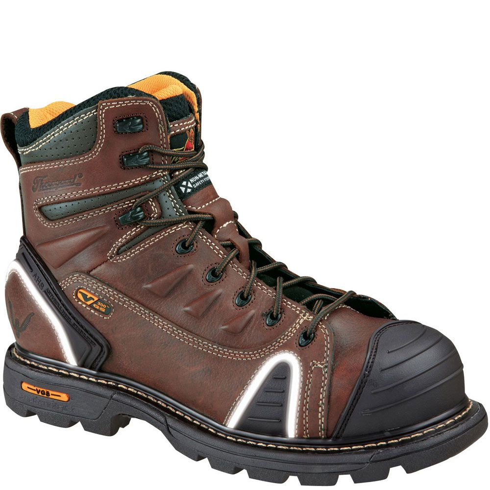 804 4445 Thorogood Men S Lace To Toe Safety Boots Brown Composite Toe Work Boots Safety Toe Boots Good Work Boots