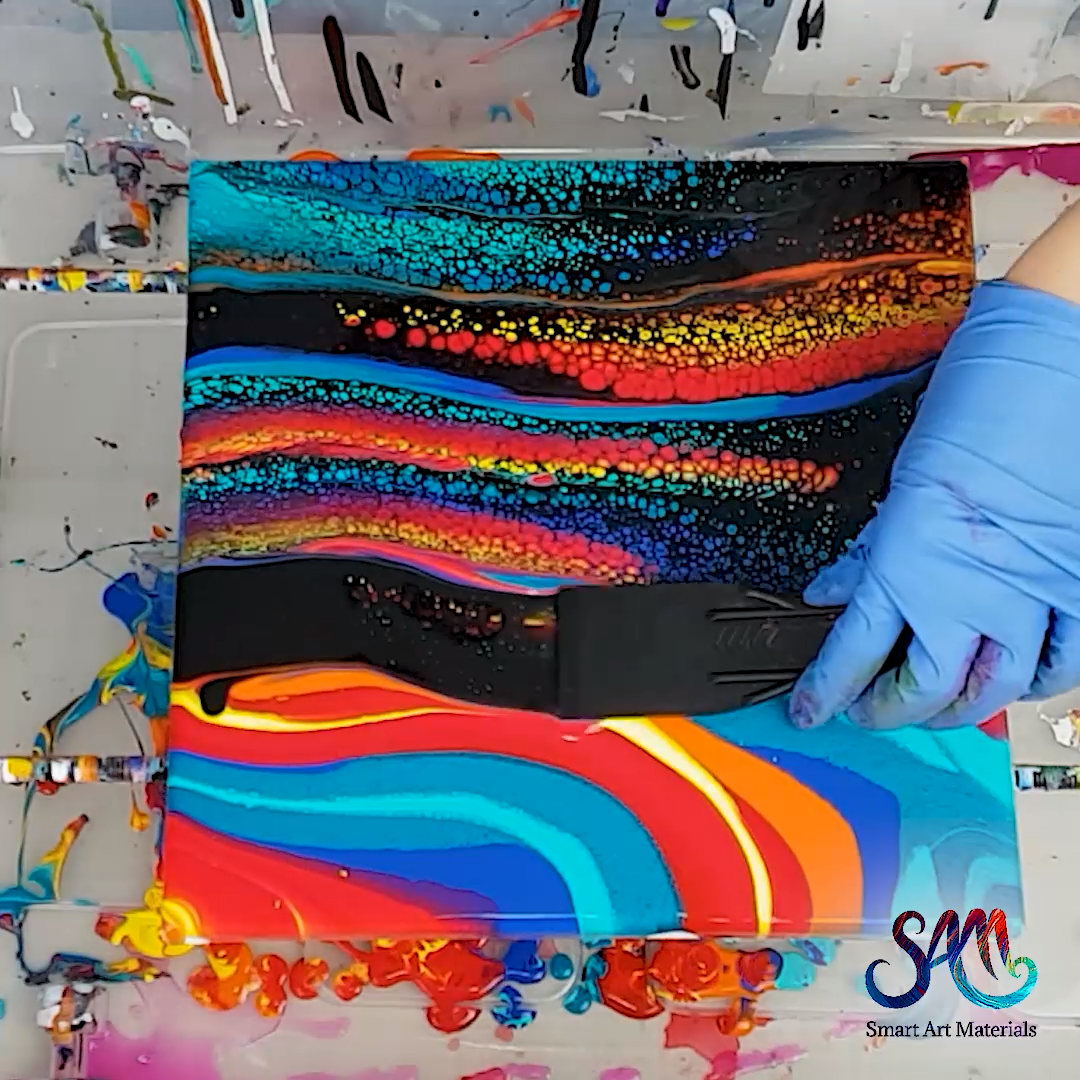 Acrylic Pouring Multi-color Swipe with TONS of cells and no silicone. Fluid Painting Tutorial by Olga Soby from Smart Art Materials