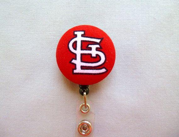 St Louis Cardinals baseball work Retractable Reel ID Badge Holder Nurse Cna Rn