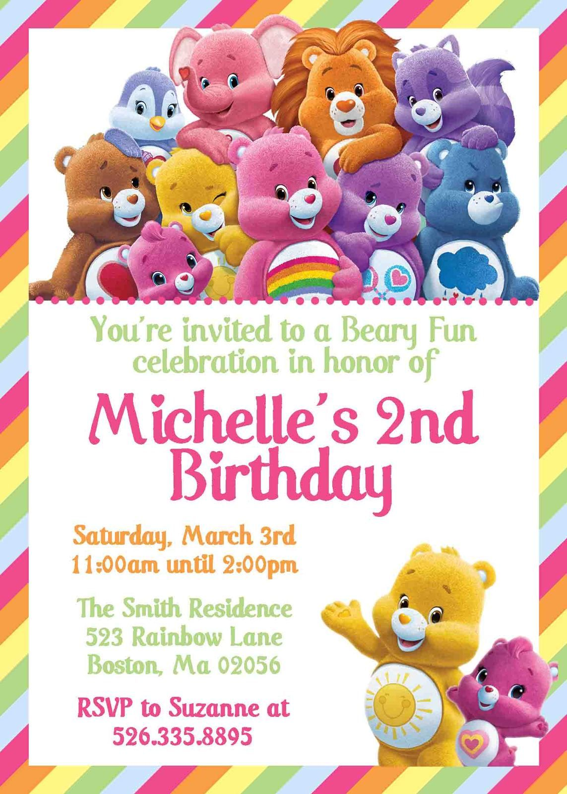 Care Bears Themed Birthday Invitation Personalized Rainbow