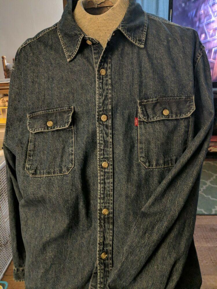 599ab26a8b2 Levi s Red Tab Dark Blue Denim Jean Shirt Men s XXXL Cotton Button front  1990s  Levis  ButtonFront