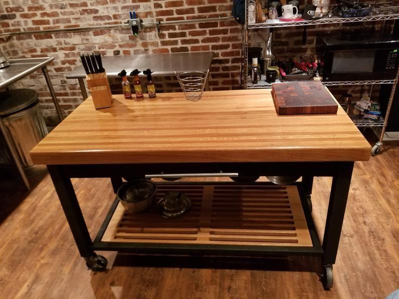 Oak Butcher Block And Steel Kitchen Island Etsy In 2020 Industrial Chic Kitchen Steel Kitchen Chic Kitchen