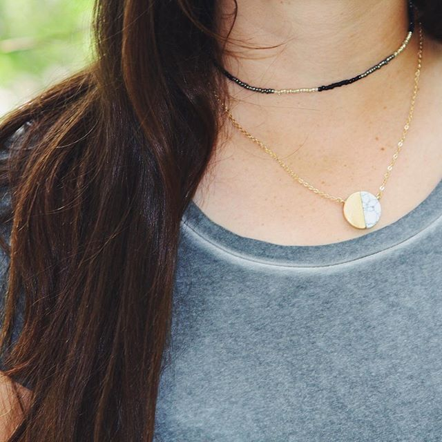 In case you've forgotten, we have 5 items on sale through the 8th! (30%-40%  off) This Marble Moon Necklace is on sale for $7.79!