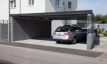 Gabionen Carport innovativer carport mit gabionen und solarwatt photovoltaikmodulen