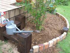 diy庭造り レンガと枕木の花壇 庭 花壇 ガーデニング