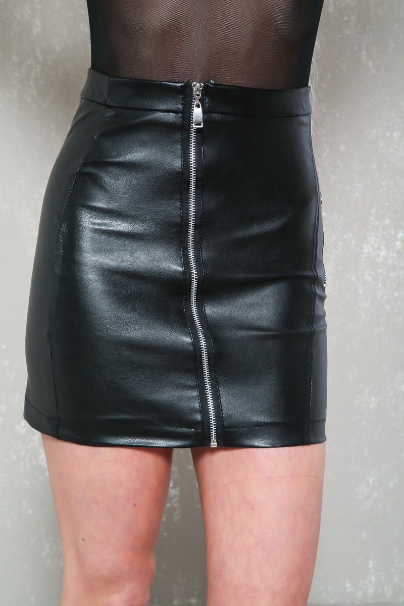 Sexy Black Faux Leather Front Zip Mini Skirt  05463b802
